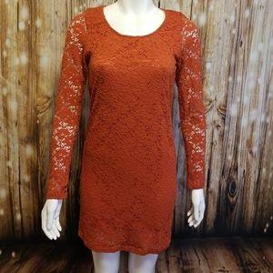 Everly rust orange crochet lace body con